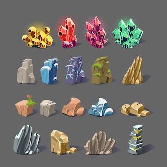 Cristal mágico y texturas de roca