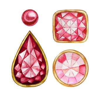 Cristal rojo en un marco de oro y cuentas de joyería. diamante de acuarela dibujada a mano.