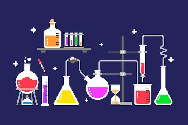 Cristalería de laboratorio de ciencias plano sobre fondo azul.