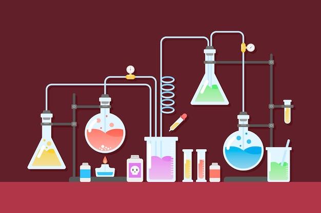 Cristalería de laboratorio de ciencias plano