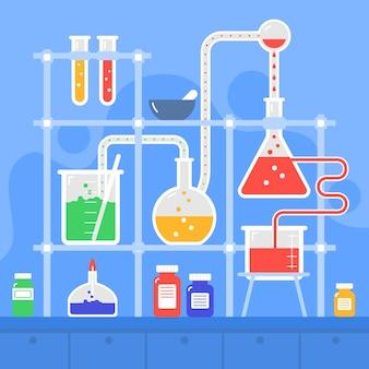 Cristalería de laboratorio de ciencias