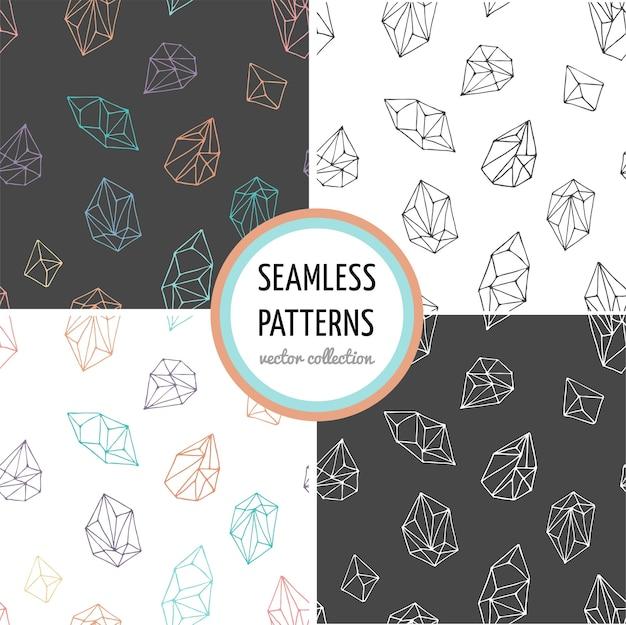 Cristales - colección de patrones modernos dibujados a mano sin costura