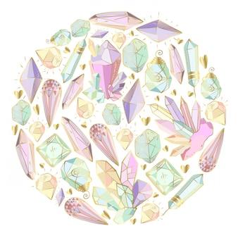 Cristales y gemas, elemento redondo.