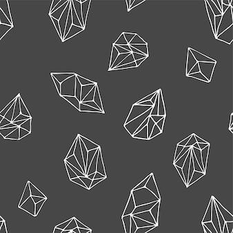 Cristales - patrón moderno dibujado a mano sin costuras