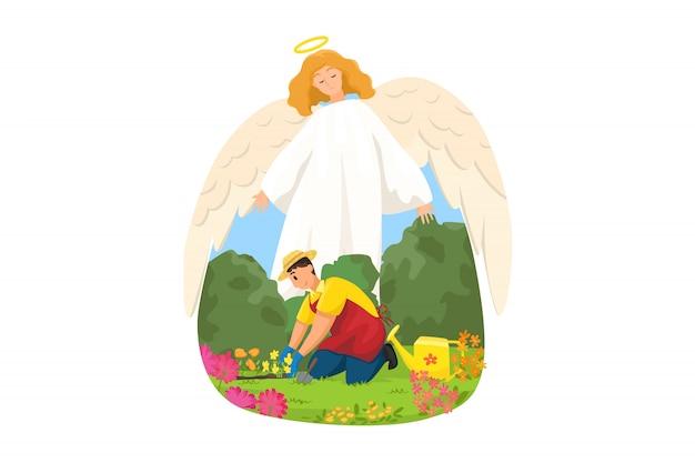 Cristianismo, religión, protección, jardinería, concepto de apoyo. angel carácter religioso bíblico que protege al hombre chico agricultor trabajador agrícola sembrando flores en el jardín. apoyo y cuidado divinos.