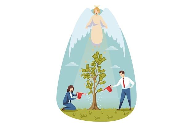 Cristianismo, religión, protección, jardinería, negocios, concepto de apoyo. carácter religioso bíblico ángel que protege a hombre de negocios, hombre, mujer, secretario, gerente, verter, dinero, árbol. éxito del apoyo divino.
