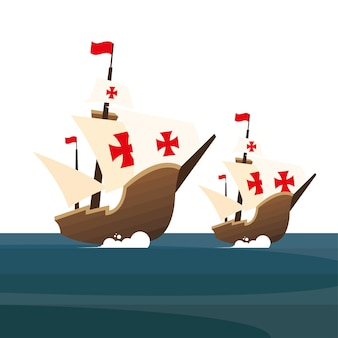Cristóbal colón barcos en el mar de américa y descubrimiento