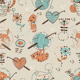 Crochet. patrón sin fisuras con lindos gatos con ovillos de lana y accesorios de tejer.