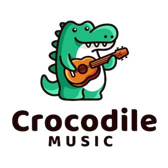 Crocodile play guitar logo
