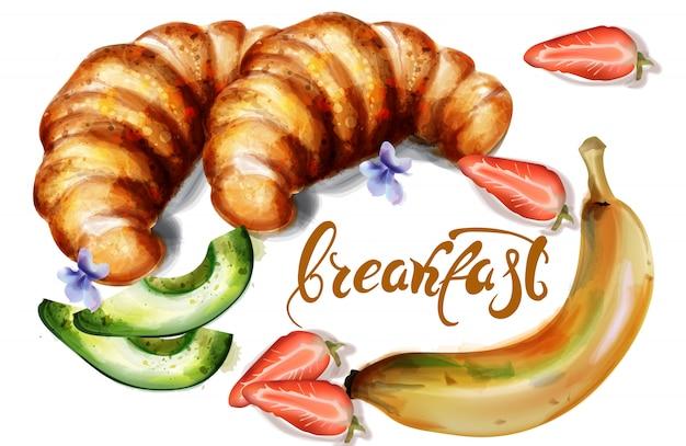 Croissant y frutas acuarela.