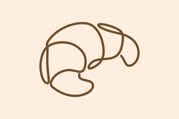 Croissant hornear arte de línea continua en línea
