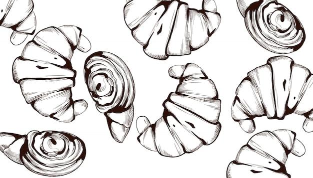 Croissant patrón de línea de arte