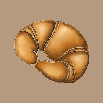 Croissant vintage recién horneado