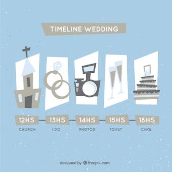 Cronología de boda en un estilo vintage