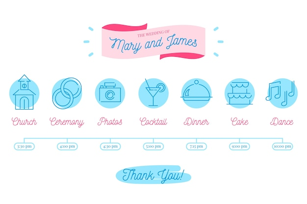Cronología de la boda en tonos azules de estilo lineal