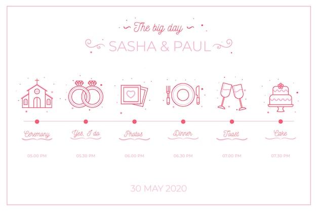 Cronología de bodas en estilo lineal