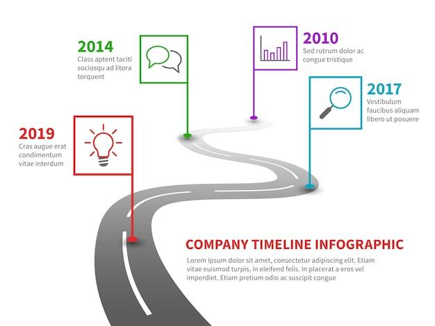 Cronología de la empresa. carretera de hitos con punteros, gráfico de líneas de proceso histórico en infografía de ruta sinuosa