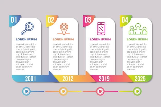 Cronología empresarial gradiente infografía