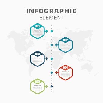 Cronología de infografía con número para estrategia comercial
