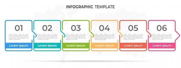 Cronología moderna infografía plantilla 6 opciones.