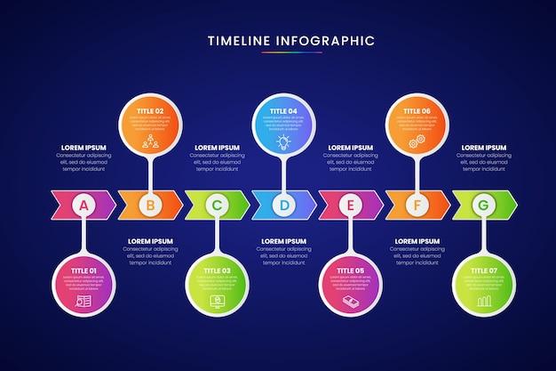 Cronología de negocios gradiente de infografía
