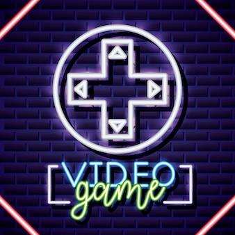 Croos de control de dirección, estilo lineal de neón de videojuego