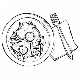 Croquis dibujados a mano huevos fritos en un plato.