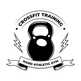Crossfit duro. emblema vintage de entrenamiento físico, culturista