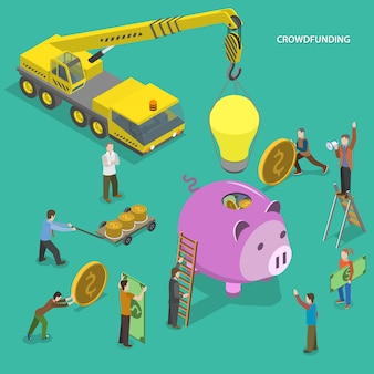 Crowdfunding concepto isométrico plano.