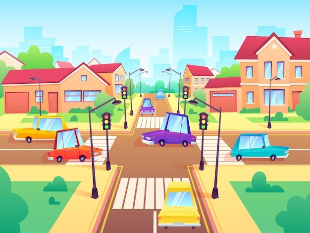 Cruce con autos. atasco de tráfico del suburbio de la ciudad, cruce de calles con semáforos e ilustración de dibujos animados de intersección de carreteras