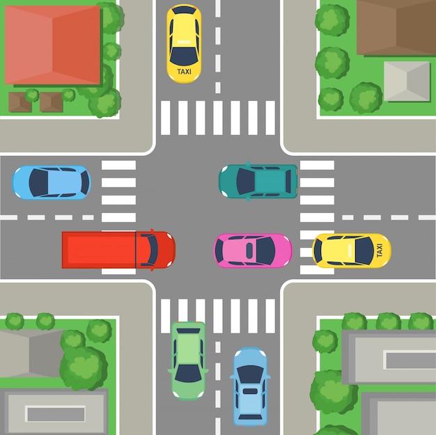 Cruce de calles en la ciudad. vista superior de la calle con coches y carreteras, casas y árboles. concepto de cruce en estilo plano de dibujos animados.
