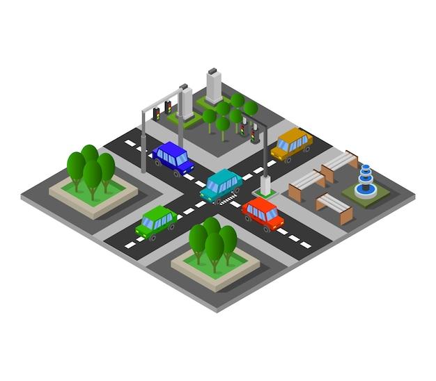 Cruce de carreteras isométrico