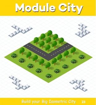 Cruce de carreteras del país con un parque con árboles