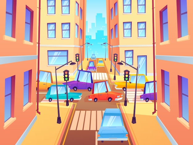 Cruce de la ciudad con los coches. intersección de tráfico, atasco de coches de la ciudad y cruce de peatones con semáforos ilustración de dibujos animados