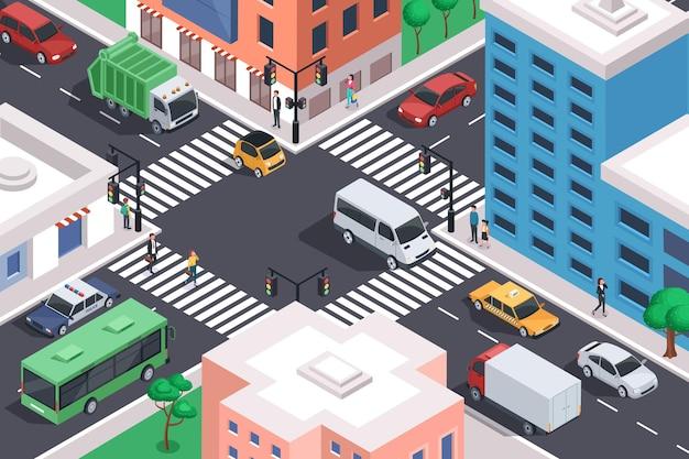 Cruce de la ciudad isométrica con coches intersección de carreteras atasco transporte urbano en el centro de la calle