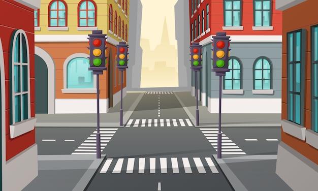 Cruce de la ciudad con semáforos, intersección. ilustración de dibujos animados de la autopista urbana