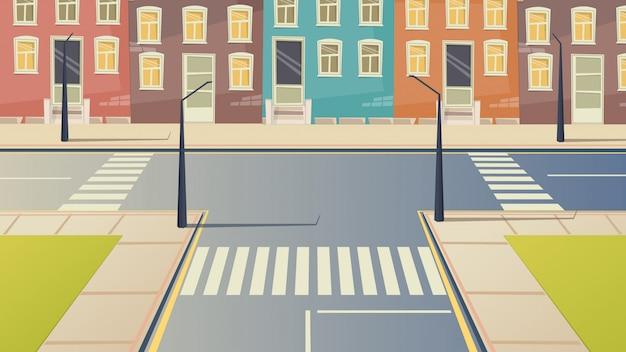 Cruce de dibujos animados de la calle del paisaje urbano.