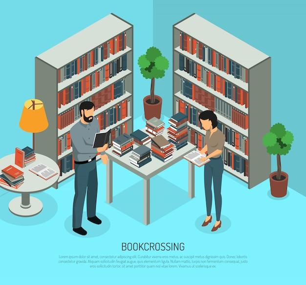 Cruce de libros en la composición de la biblioteca