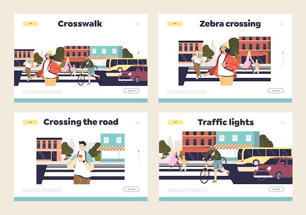 Cruce seguro de la carretera y el concepto de seguridad para peatones.