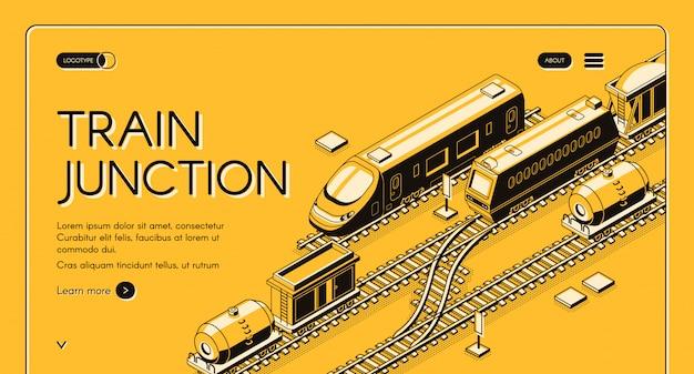 Cruce de tren, banner web isométrico de nodo de transporte con trenes de pasajeros y de carga