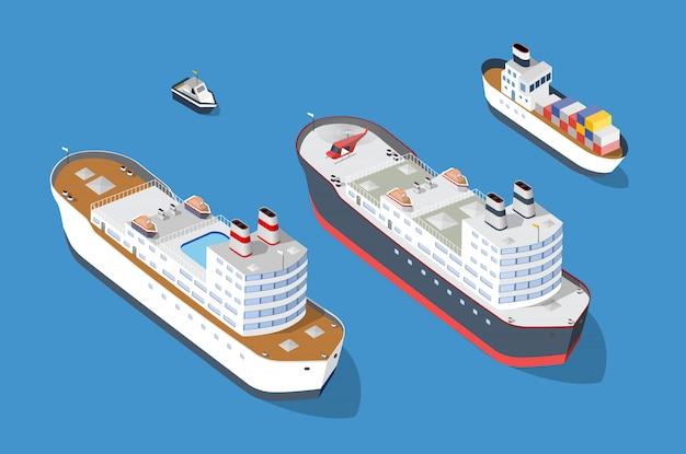 Crucero de barcos y naves de transporte náutico.