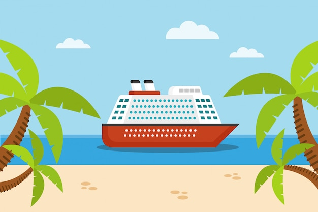 Crucero en el mar, arena y palmeras.