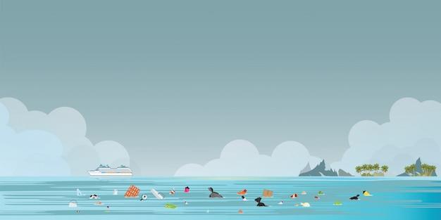Crucero transbordador de pasajeros con basura flotando en el mar.