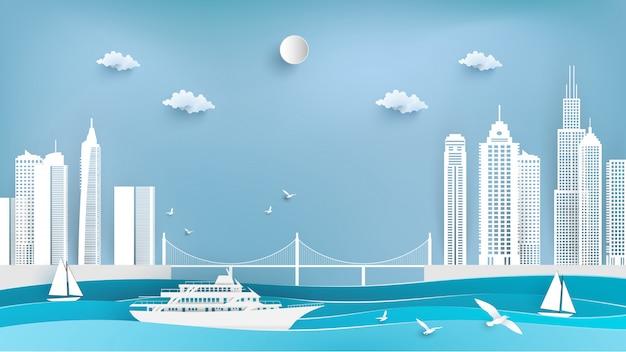 De cruceros y ciudades en papel arte.