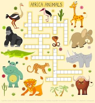 Crucigrama de animales africanos para niños. ilustración de león y leopardo, elefante y gorila.