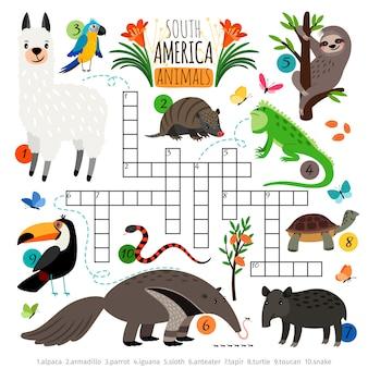 Crucigrama de animales americanos