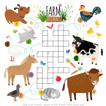 Crucigrama de animales de granja