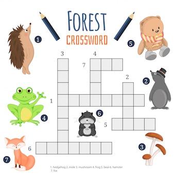 Crucigrama de color, juego educativo para niños sobre animales.