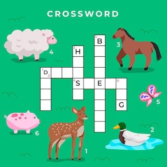 Crucigrama creativo en inglés con lindos animales