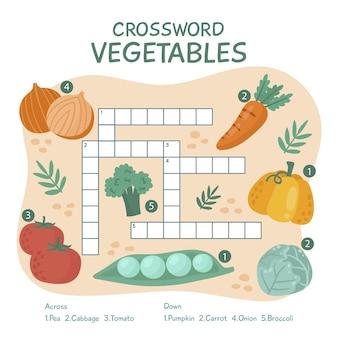 Crucigrama creativo en inglés con verduras